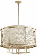 Quorum 6875-8-60 Bastille Modern Aged Silver Leaf Drum Drop Ceiling Light Fixture