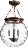 Quorum 6920-3-86 Clear Globe Oiled Bronze w/ Clear Drop Lighting Fixture