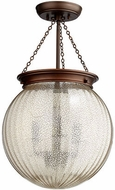 Quorum 6921-3-86 Mercury Globe Modern Oiled Bronze w/ Silver Mercury Pendant Lighting