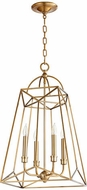 Quorum 820-4-80 Clarkson Contemporary Aged Brass 14  Foyer Lighting Fixture