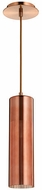 Quorum 837-4949 Laser Contemporary Satin Copper w/ Copper Mini Hanging Lamp