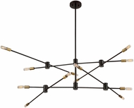 Savoy House 1-7001-12-77 Lyrique Modern Bronze w/ Brass Accents Hanging Chandelier