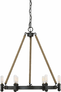 Savoy House 1-9270-6-115 Piccardy Modern Rustic Black w/ Rope Mini Hanging Chandelier