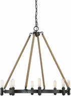 Savoy House 1-9271-8-115 Piccardy Contemporary Rustic Black w/ Rope Chandelier Light