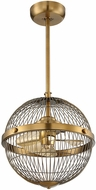 Savoy House 17-339-FD-322 Arena Contemporary Warm Brass Pendant Fan Light Fixture