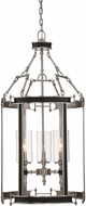 Savoy House 3-5043-3-81 Gramercy Modern Polished Pewter w/ Black Leatherette Foyer Lighting