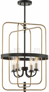 Savoy House 3-8072-4-51 Kearney Modern Vintage Black w/ Warm Brass Foyer Light Fixture
