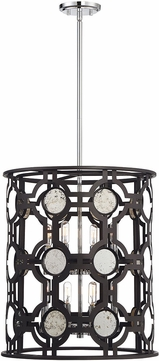 Savoy House 3-9222-8-107 Chennal Modern Bronze and Chrome w/ Antique Mirror Accents Foyer Light Fixture