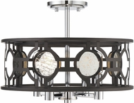 Savoy House 6-9221-4-107 Chennal Contemporary Bronze and Chrome w/ Antique Mirror Accents Ceiling Light Fixture / Pendant Light