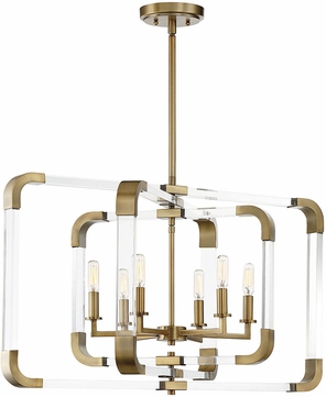 Savoy House 7-1660-6-322 Rotterdam Contemporary Warm Brass Chandelier Lighting