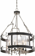 Savoy House 7-5042-6-81 Gramercy Modern Polished Pewter w/ Black Leatherette Ceiling Pendant Light