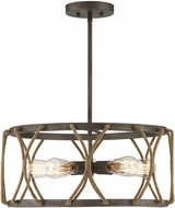 Savoy House 7-5300-5-32 Keating Modern Artisan Rust Drum Ceiling Pendant Light