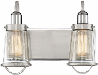 Savoy House 8-1780-2-111 Lansing Contemporary Satin Nickel w/ Polished Nickel Accents 2-Light Bathroom Light
