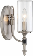 Savoy House 9-5044-1-81 Gramercy Modern Polished Pewter w/ Black Leatherette Wall Mounted Lamp