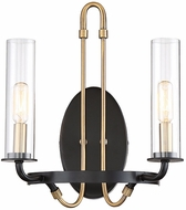 Savoy House 9-8073-2-51 Kearney Contemporary Vintage Black w/ Warm Brass Wall Mounted Lamp