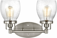 Seagull 4414502-962 Belton Modern Brushed Nickel 2-Light Bathroom Lighting Fixture