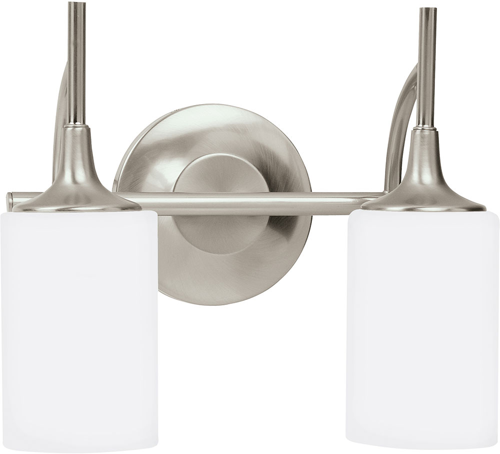 Seagull 44953EN 962 Stirling Brushed Nickel LED 2 Light Bathroom Sconce Light