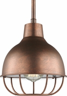 Seagull 6146501-44 Jeyne Contemporary Weathered Copper Mini Hanging Pendant Light