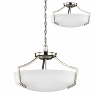 Seagull 7724503EN-962 Hanford Brushed Nickel LED Pendant Hanging Light / Flush Ceiling Light Fixture