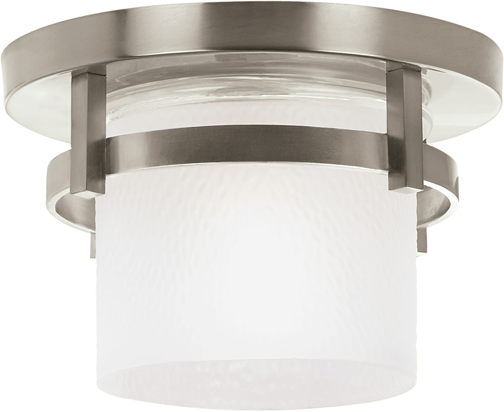 Seagull 88115en 962 eternity contemporary brushed nickel led exterior flush ceiling light for Exterior ceiling light fixture