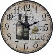 Sterling 118-032 French Wine Bottles Tan & Black & Brown Wine Bottles Wall Clock