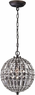 Sterling 122-015 Talgarth Dark Bronze With Clear Crystal Mini Lighting Pendant