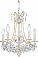 Sterling 122-021 Mini Chandelier Antique Cream With Clear Crystal Mini Chandelier Lamp