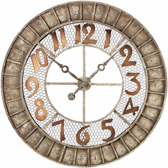 Sterling 128-1001 Distressed Antique Cream Round Metal Outdoor Wall Clock