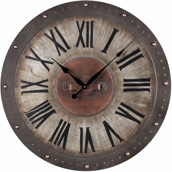 Sterling 128-1005 Roman Numeral Jardim Grey With Copper Highlight Metal Roman Numeral Outdoor Wall Clock