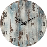 Sterling 128-1008 Roman Numeral Belos Dark Blue Wooden Roman Numeral Outdoor Wall Clock