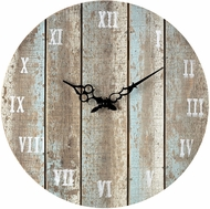 Sterling 128-1009 Roman Numeral Belos Light Blue Wooden Roman Numeral Outdoor Wall Clock