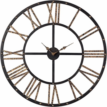 Sterling 129-1024 Roman Numeral Mombaca Black & Gold Metal Framed Roman Numeral Open Back Wall Clock