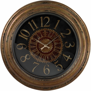 Sterling 130-003 Alspire Black & Maroon & Brunished Gold Large Clock With Distressed Hand painted Frame