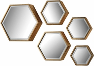 Sterling 138-170-S5 Hexagonal Modern Soft Gold Wall Mirror - Set of 5