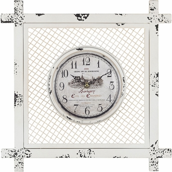 Sterling 171-013 Distressed White Vintage Style Clock in Square Mesh