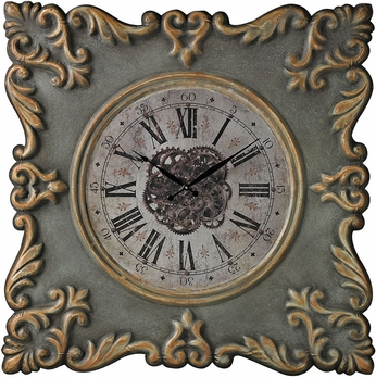 Sterling 26-8684 Grey With Green Wash And Gold Edging Nahant-Antique Reproduction Clock Frame With Industrial Centre Print