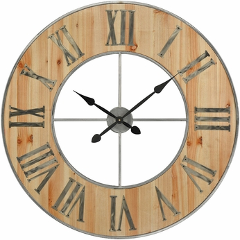 Sterling 3205-002 Foxhollow Vintage Natural Oak Stain, Raw Steel Wall Clock