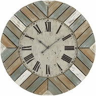 Sterling 3215-003 Darling Vintage Washed Blue, White And Natural Wall Clock