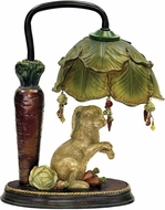 Sterling 91-297 Rabbit Under Leaf Contemporary Alman Antique White & Green Table Lighting