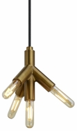 Tech 700TDQTKPR-LED927 Quatnik Contemporary Aged Brass LED Line Voltage Mini Drop Ceiling Light Fixture