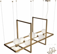 Tech MODERNRAIL-CHAN-1-GLASS-ORBS ModernRail Modern Aged Brass LED Kitchen Island Lighting