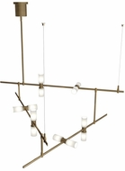 Tech MODERNRAIL-CHAN-2-GLASS-CYLINDERS ModernRail Contemporary Aged Brass LED Chandelier Light
