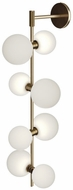 Tech MODERNRAIL-WALL-GLASS-ORBS ModernRail Modern Aged Brass LED Wall Light Sconce