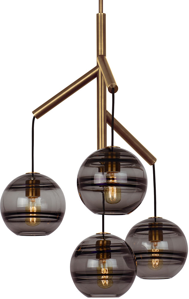 Tech Sedona Modern Aged Brass Led Mini Hanging Chandelier