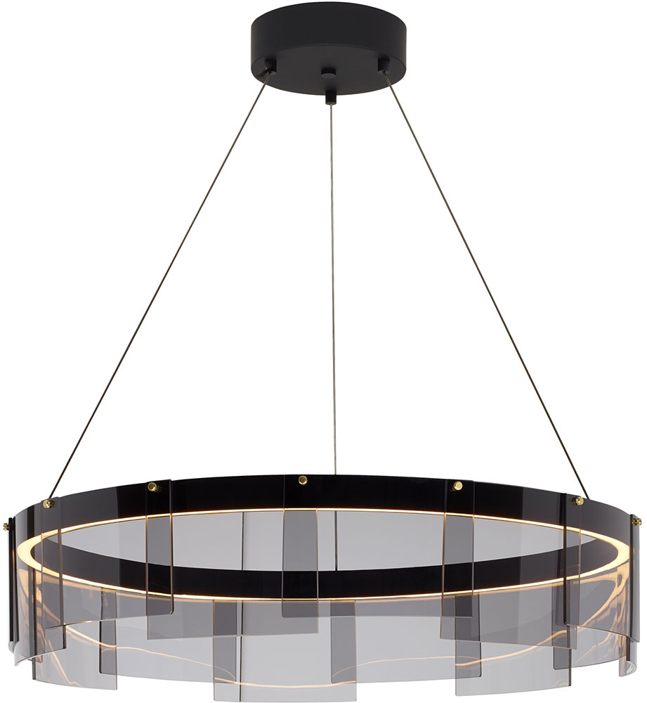 Modern Drum Ceiling Lights : Tech stratos modern smoke black led drum ceiling light