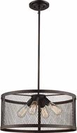 Trans Globe 10384-ROB Mist Contemporary Rubbed Oil Bronze Drum Ceiling Light Pendant