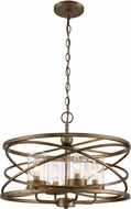 Trans Globe 10524-ASL Altadena Contemporary Antique Silver Leaf Drum Hanging Pendant Lighting