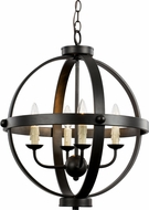 Trans Globe 70594-ROB Sphere Contemporary Rubbed Oil Bronze Mini Hanging Chandelier