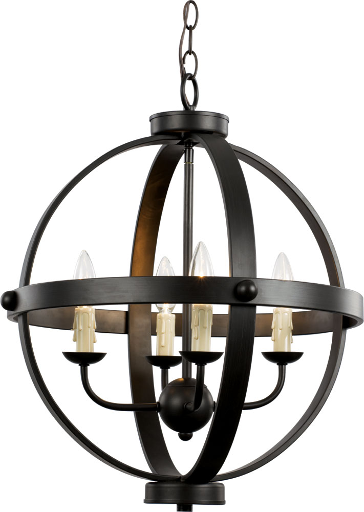 Trans globe 70594 rob sphere contemporary rubbed oil bronze mini hanging chandelier tra 70594 rob - Can light chandelier ...