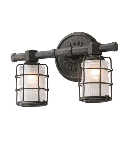 "Bathroom Lighting Vintage troy b3842 mercantile vintage bronze finish 13.75"" wide 2-light"